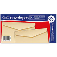 County Stationery DL Manilla Gummed Envelopes  Pack of 1000 C501