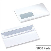 5 Star Office White DL Window Envelopes Self Seal Wallet 90gsm Pack of 1000