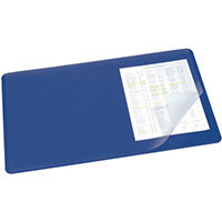 Durable Desk Mat with Transparent Overlay 530 x 400mm Dark Blue 720207