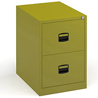 Steel 2 drawer contract filing cabinet 711mm high - green
