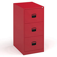 Steel 3 drawer contract filing cabinet 1016mm high - red