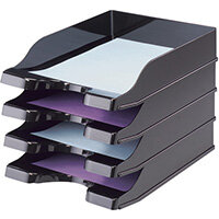 Deflecto SteriTouch Stacking Letter Tray Black CP130STBLK