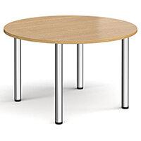 Circular chrome radial leg meeting table 1200mm - oak
