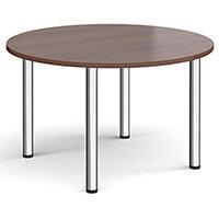 Circular chrome radial leg meeting table 1200mm - walnut