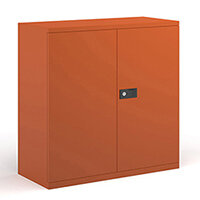 Steel contract cupboard with 1 shelf 1000mm high - orange