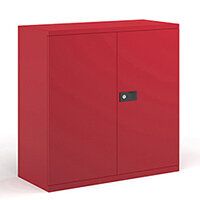 Steel contract cupboard with 1 shelf 1000mm high - red