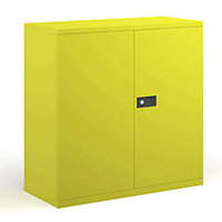 Steel contract cupboard with 1 shelf 1000mm high - yellow