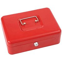 Phoenix Red Cash Tray – 6 Coin Compartment, 1 Note Compartment, 2 Keys, Steel, Removable Organiser Tray, Carry Handle, 1-Year Warranty &Front-Mounted Key Lock (CB0102K)