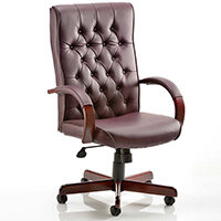 Chesterfield Executive Office Chair - Burgundy Leather Seat & Back - Fixed Wooden Padded Arms - Wooden 5 Star Castor Base