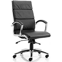 Classic Executive Office Chair - High Back - Black Seat & Back - Fixed Padded Arms - Chrome Base & Accents