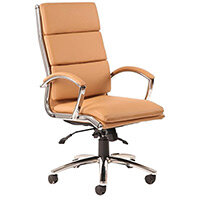 Classic Executive Office Chair - High Back - Tan Seat & Back - Fixed Padded Arms - Chrome Base & Accents
