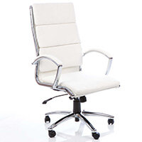 Classic Executive Office Chair - High Back - White Seat & Back - Fixed Padded Arms - Chrome Base & Accents