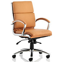 Classic Executive Office Chair - Medium Back - Tan Seat & Back - Fixed Padded Arms - Chrome Base & Accents