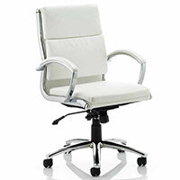 Classic Executive Office Chair White With Arms Medium Back