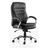 Rocky Executive Office Chair - Black Leather Back & Seat - High Back - Fixed Cushioned Arms
