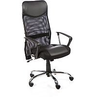 Vegas Executive Office Chair Black Leather Seat Black Mesh Back With Leather Headrest With Arms
