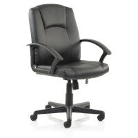 Bella Executive Managers Chair - Black Leather - Fixed Arms - Medium Back - Max. Weight 120kg