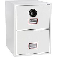 Phoenix World Class Vertical Fire File FS2252F 2 Drawer Filing Cabinet with Fingerprint Lock White