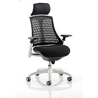Flex Task Operator Office Chair White Frame Black Fabric Seat With Black Back With Arms & Headrest