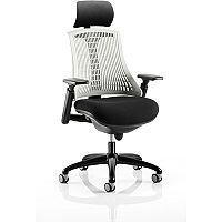 Flex Task Operator Office Chair Black Frame With Black Fabric Seat Moonstone White Back With Arms & Headrest