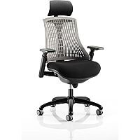 Flex Task Operator Office Chair Black Frame With Black Fabric Seat Grey Back With Arms & Headrest