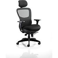 Stealth Shadow Ergo Posture Office Chair Black Airmesh Seat And Mesh Back With Arms & Headrest