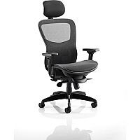 Stealth Shadow Ergo Posture Office Chair Black Mesh Seat And Back Chair With Arms & Headrest