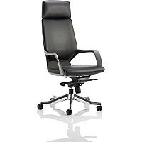 Xenon Black Frame High Back Executive Office Chair Black Leather With Headrest