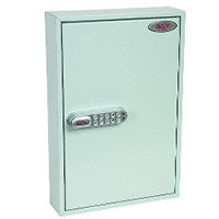 Phoenix Commercial Key Cabinet KC0601S 42 Hook with Electronic Lock & Push Shut Latch. Light Grey