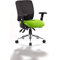 Chiro Medium Back Task Operator Office Chair Black Back & Swizzle Green Seat