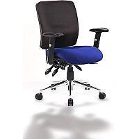 Chiro Medium Back Task Operator Office Chair Black Back & Serene Blue Seat