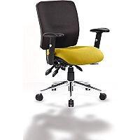 Chiro Medium Back Task Operator Office Chair Black Back & Sunset Yellow Seat