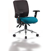 Chiro Medium Back Task Operator Office Chair Black Back & Kingfisher Green Seat