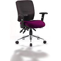 Chiro Medium Back Task Operator Office Chair Black Back & Purple Seat
