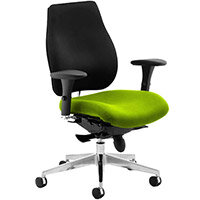 Chiro Plus High Back Ergonomic Posture Office Chair Black Back & Swizzle Green Seat