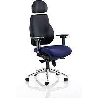 Chiro Plus Ultimate High Back Ergonomic Posture Office Chair With Headrest Black Back & Serene Blue Seat