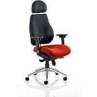 Chiro Plus Ultimate High Back Ergonomic Posture Office Chair With Headrest Black Back & Pimento Rustic Orange Seat