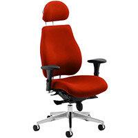 Chiro Plus Ultimate High Back Ergonomic Posture Office Chair With Headrest Pimento Rustic Orange