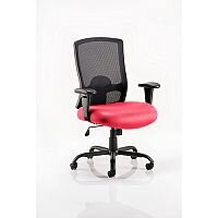 Portland HD - Heavy Duty - Mesh Back Task Operator Office Chair - Robust Frame, Large Seat & Back - Max Weight 32 Stone/203kg - Cherry Red