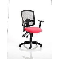Portland III Task Operator Office Chair Black Mesh Back Cherry Red