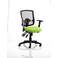 Portland III Task Operator Office Chair Black Mesh Back Swizzle Green
