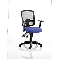 Portland III Task Operator Office Chair Black Mesh Back Serene Blue