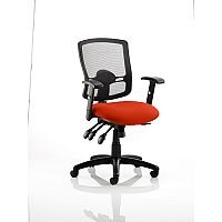 Portland III Task Operator Office Chair Black Mesh Back Pimento Rustic Orange