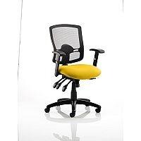 Portland III Task Operator Office Chair Black Mesh Back Sunset Yellow