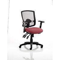 Portland III Task Operator Office Chair Black Mesh Back Chilli Red