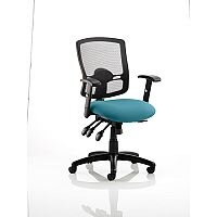 Portland III Task Operator Office Chair Black Mesh Back Kingfisher Green