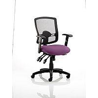 Portland III Task Operator Office Chair Black Mesh Back Purple