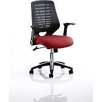 Relay Task Operator Office Chair Black Back Chilli Red