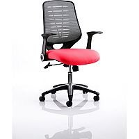 Relay Task Operator Office Chair Silver Back Cherry Red
