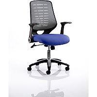 Relay Task Operator Office Chair Silver Back Serene Blue